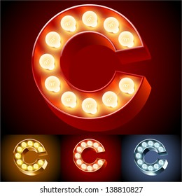 Vector illustration of realistic old lamp alphabet for light board. Red Gold and Silver options. Letter C