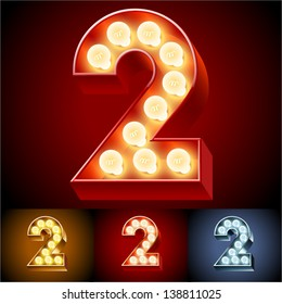 Vector illustration of realistic old lamp alphabet for light board. Red Gold and Silver options. Number  2