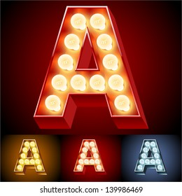 Vector illustration of realistic old lamp alphabet for light board. Red Gold and Silver options. Letter A