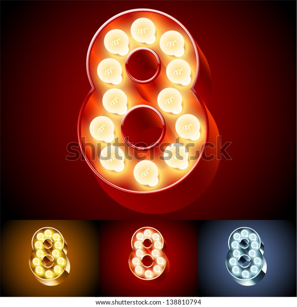 Vector illustration of realistic old lamp alphabet for light board. Red Gold and Silver options. Number 8