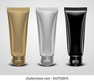 Vector illustration of realistic packages of makeup foundation tubes.