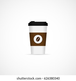 Vector illustration realistic paper coffee cup.