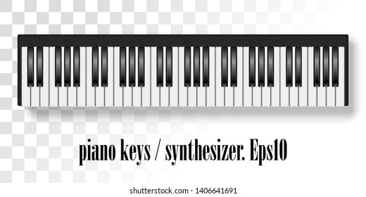 Vector illustration of realistic piano keys.Top view of realistic shaded monochrome piano keyboard.Eps10 Vector