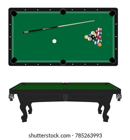 Vector illustration realistic pool table with set of billiard balls and cue. Billiard table with green cloth top and side view