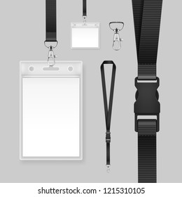 Vector illustration of realistic professional identification card. Template id badges holders on black lanyards and strap clips isolated on background