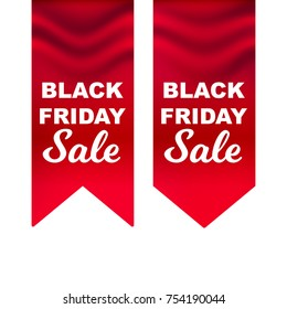 Vector illustration, realistic red flag with Black Friday Sale text. Eps 10 file.
