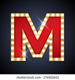 Vector illustration of realistic retro signboard letter M. Part of alphabet including special European letters.