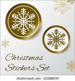 Vector illustration of Realistic Round Stickers or Icons. With peeled off corner and shadow. Golden Christmas theme with snowflake. EPS 10
