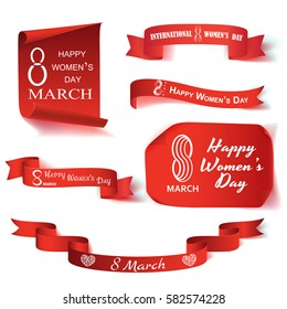 Vector illustration realistic set of paper and ribbon on the topic 8 March International Women's Day
