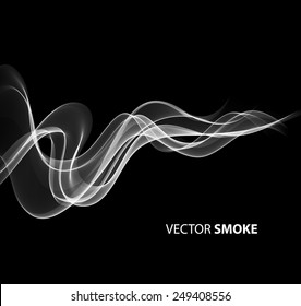 Vector illustration realistic smoke on black background