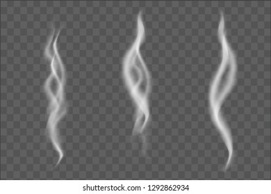 vector illustration of realistic smoke set isolated on transparent background
