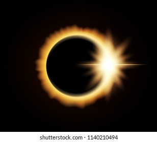 Vector illustration: Realistic Solar Eclipse on dark space background