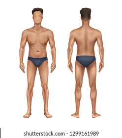 Vector illustration of realistic standing naked man in trunks, athletic male body template full length front and back view, isolated on white background