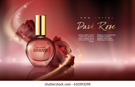 Vector illustration of a realistic style perfume in a glass bottle on a wine-red background with luxurious burgundy roses. Great advertising poster for promoting a new fragrance