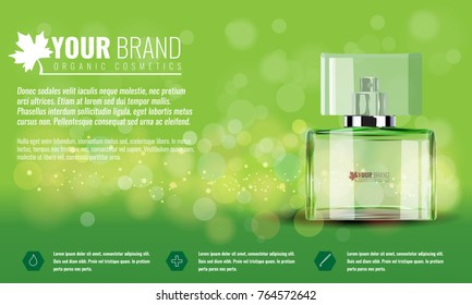 Vector illustration of a realistic style perfume in a glass bottle on a green background. Illustrated vector.