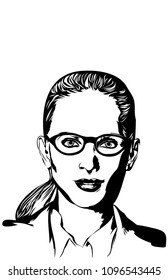 A vector illustration, in a realistic style, of a strong intelligent woman in  business attire.  Single color, 11x17 aspect ratio.