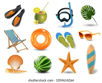 vector illustration of Realistic summer holidays seaside beach icons set isolated
