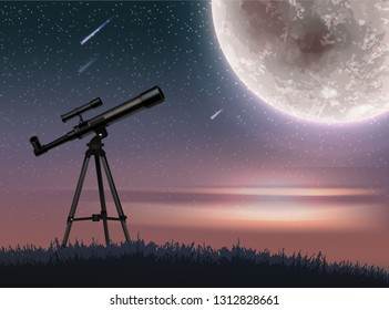 Vector illustration of realistic telescope on starry sky sunset with falling meteorites and big full shining moon on background