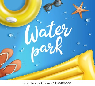 Vector illustration of realistic waterpark pool aquapark aqua park splash beach set inflatable raft and swim ring with flip-flop and sunglasses drops and starfish isolated on background