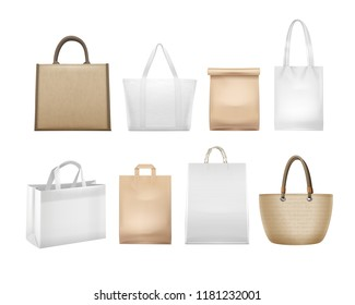 Vector illustration of realistic white and beige shopping bags set and packages collection isolated on background