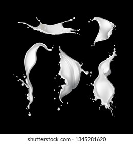 Vector illustration of realistic white milk or cream splashes collection of different forms with drops isolated on black background
