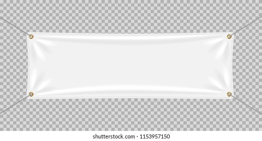 Vector illustration. A realistic white textile banner with folds.  Graphic design elements for advertising, flyers, posters, web site, sale announcement.