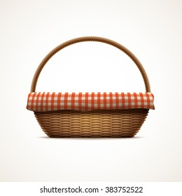 Vector illustration of realistic wicker basket. Elements are layered separately in vector file. CMYK colors. Print ready.