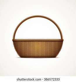 Vector illustration of realistic wicker basket. Elements are layered separately in vector file. CMYK color mode, print ready.