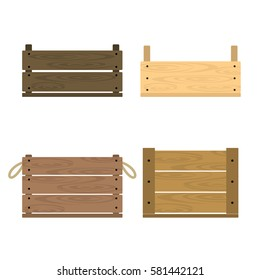 Vector illustration of realistic wooden vegetable box with holes. Fruit drawer front view. Crate isolated on white background. Box for storage and transportation of food. Flat style design
