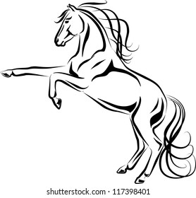 Vector Illustration of rearing horse black and white