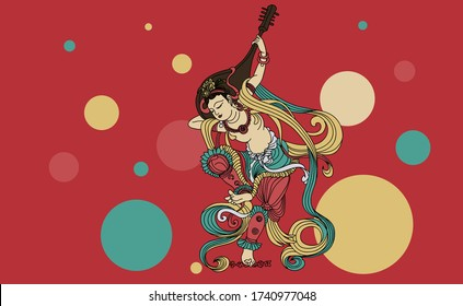 """Vector illustration of """"Rebound Pipa Picture"""" at Mogao Grottoes in Tang Dynasty, China"""
