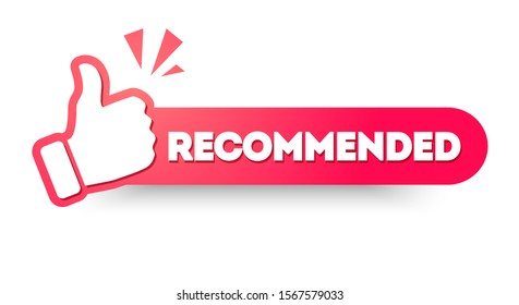Vector Illustration Recommended Label With Thumbs up. Modern Web Banner Element