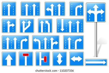Vector illustration of rectangle blue road signs