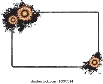 Vector illustration of a rectangular horizontal frame adorned with orange flowers in south-east and north-west corner