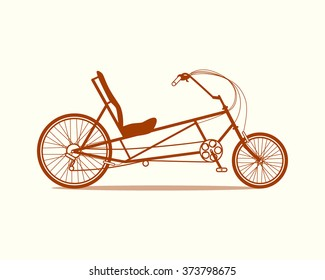 Vector illustration of a recumbent bicycle made in flat style. Vector bike icon.