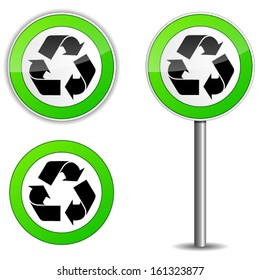 Vector illustration of recycle sign on traffic panel