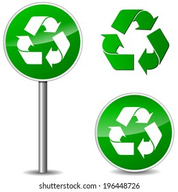 Vector illustration of recycle signs on white background