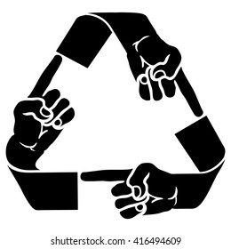 Vector illustration of a recycle symbol with human fingers pointing for the concept of karma.