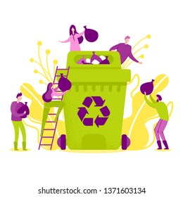Vector Illustration Recycling in Nature Flat. Men and Women Joined Forces to Collect Packages Garbage and Put Tank for Recycling. Teamwork against Pollution. Give Each other Package Garbage.