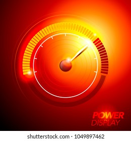 vector illustration red abstract car fuel power speedometer pushing to limit with cool energy glow effects.