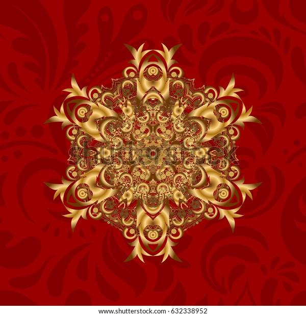 Vector illustration. Red background. Golden mandalas element.