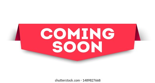 Vector Illustration Red Banner Coming Soon. Web Element.