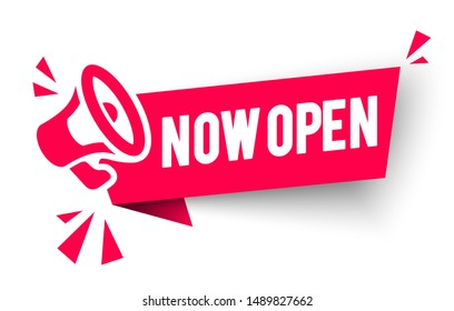 Vector Illustration Red Banner now open With Megaphone. Web Element.