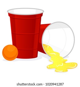 Vector Illustration of Red Beer Pong plastic cup with Ball and Spill of Beer