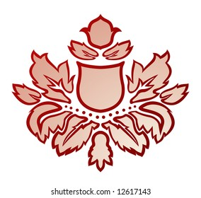 Vector illustration of a red and beige abstract flower