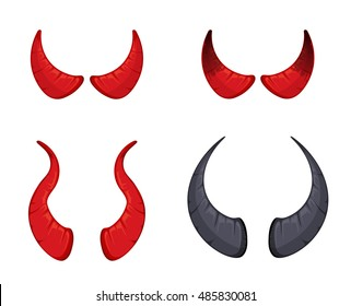 vector illustration of red and black Devil horns set isolate on white background. Picture for halloween party