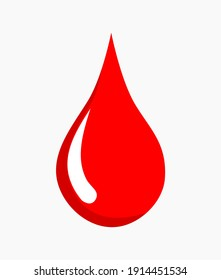 Vector illustration of a red blood drop on a gray background