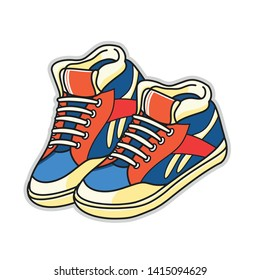 Vector illustration red and blue sports sneakers with white laces isolated on white background, hand drawn