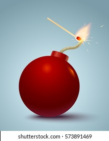 Vector illustration of a red bomb and match in fire and sparks