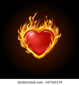 Red Burning Heart With Fire On A Black Background Designs For Banners